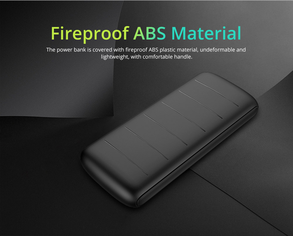 Dual USB Power Bank for Cell Phone 10000mAh, Contracted Circular Arc Portable External Battery Fireproof ABS Charger 16