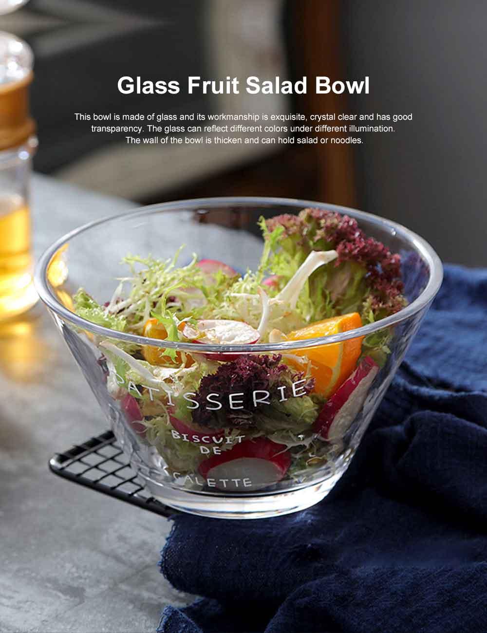 Glass Fruit Salad Bowl, Transparent Bowl Dessert Vegetable Ice Cream Noodle Bowl for Household With Forks 0