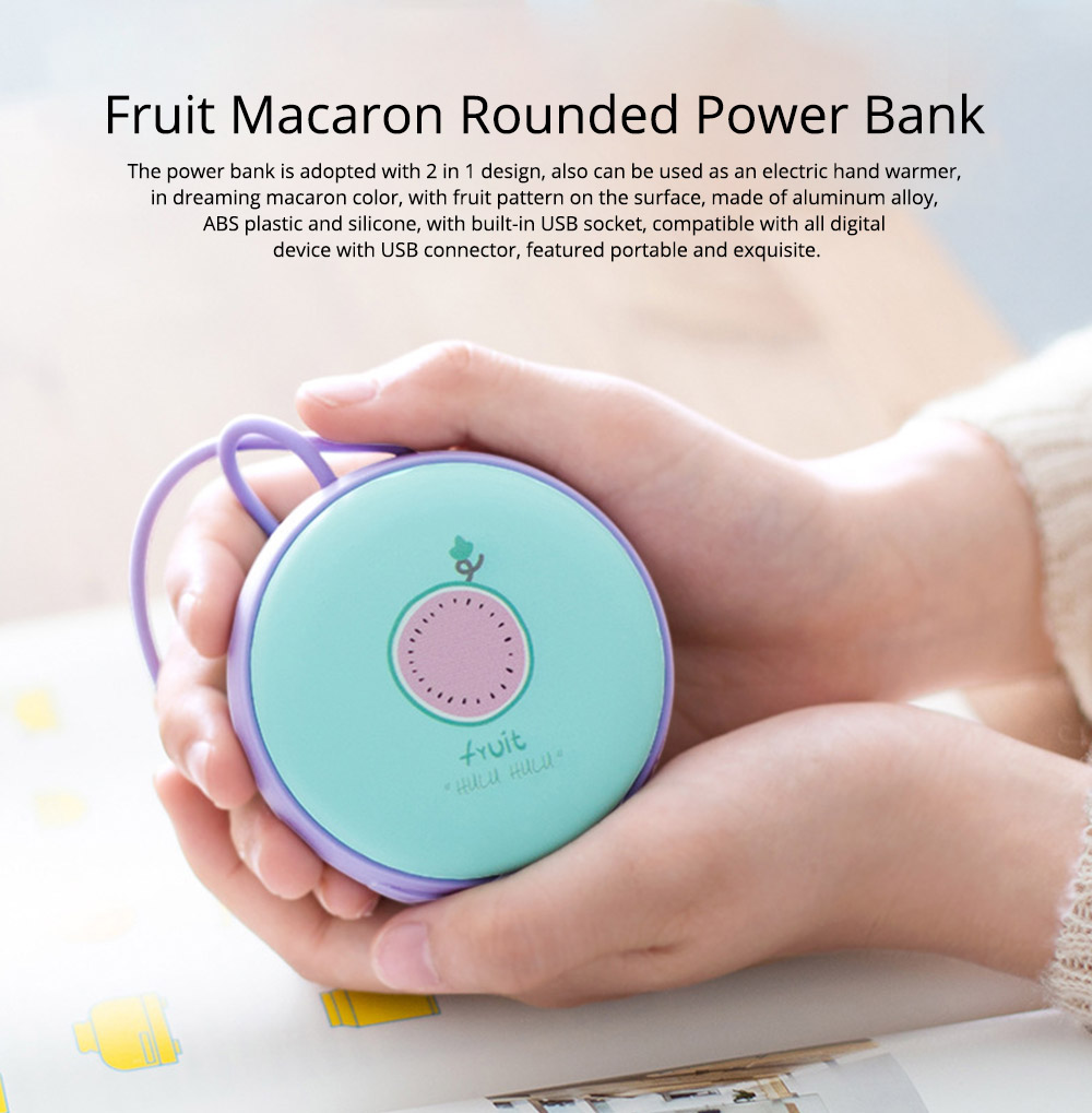 4500mAh Power Bank Hand Warmer, Creative Fruit Macaroon Rounded 2 In 1 Pocket Silicone Electric Heater USB Charger 0
