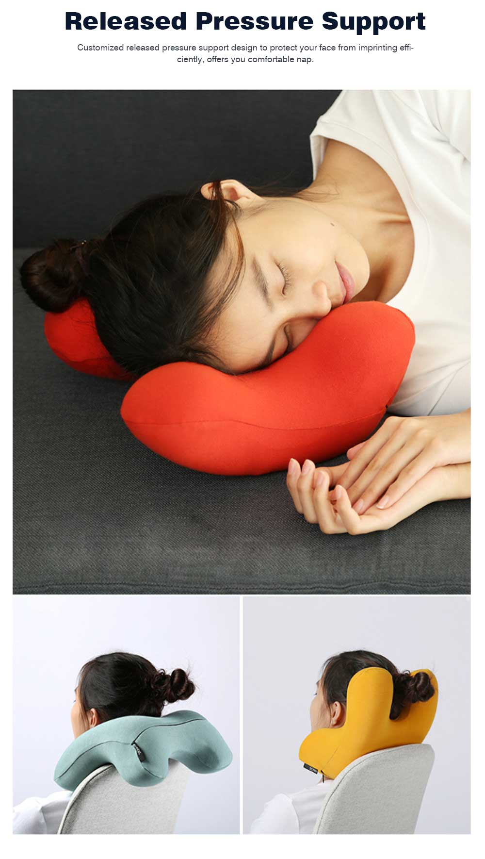 Office Nap Pillow with Humanized Design, Lightweight Nap Pillow for Office Classroom Traveling, Portable Nap Memory Pillow 1