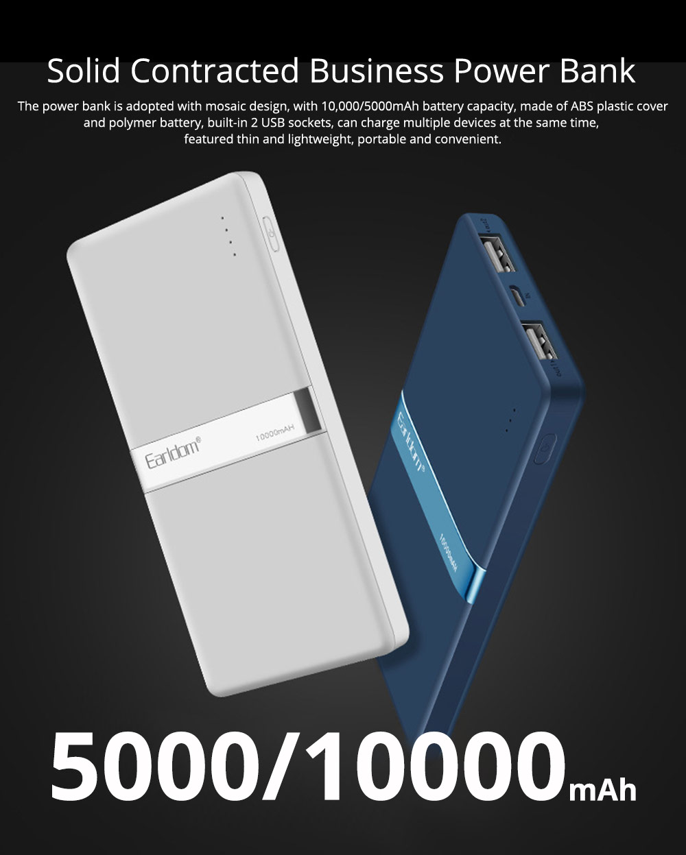 Stylish Business Power Bank 10000 5000mAh, Portable External Polymer Battery Charger USB Socket Power Bank for Cell Phone 0