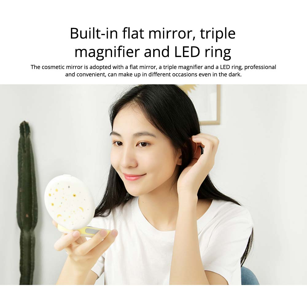 Creative 2 In 1 LED Cosmetic Mirror Power Bank, Portable External Battery Charger USB Socket for Cell Phone 12