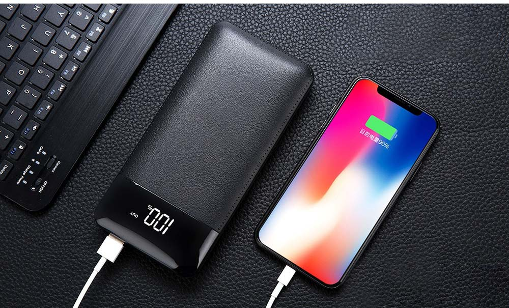 10000mAh Power Bank with 2 Outputs & Dual Inputs, Intelligent LCD, Simulation Leather, Compatible Smartphone, Tablet and More 14