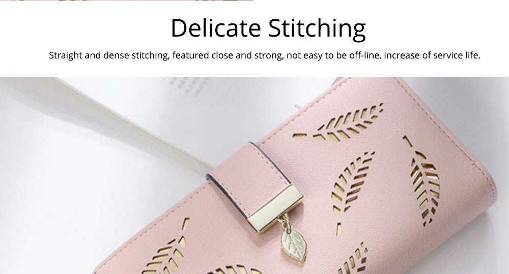 Women Long Wallet, PU Leather Zipper Change Purse, Hollow-out Leaves Card Bag Casual Handbag 6