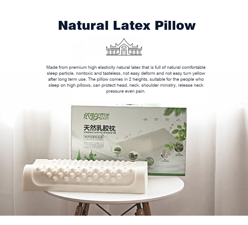 Breathable Massage Latex Pillow for Men Women, Universal Adult Spondylosis Prevention Natural Latex Pillow 0