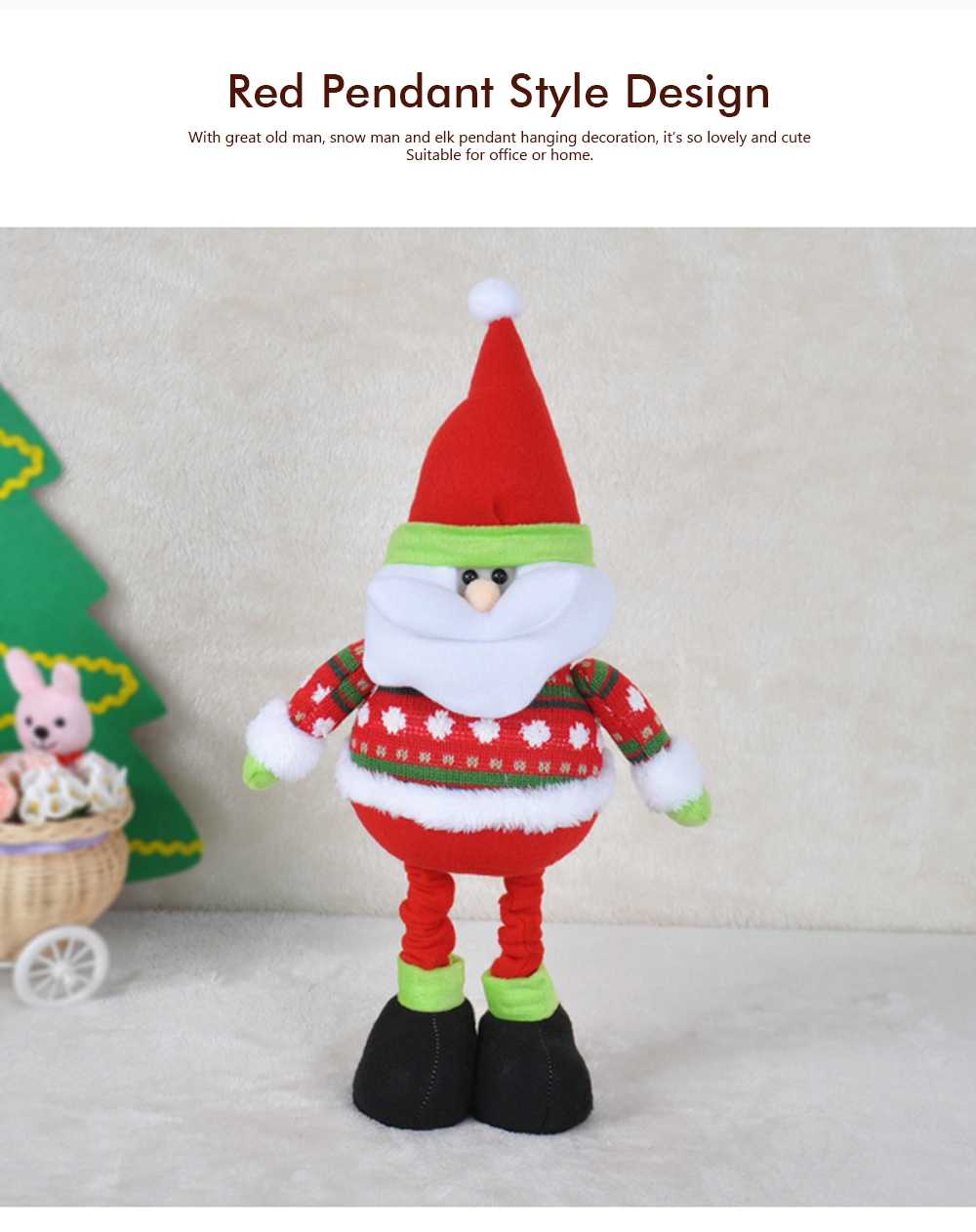 Standing Telescopic Santa Snowman, Figurine Santa Claus Posing Christmas Doll for Gifts 1