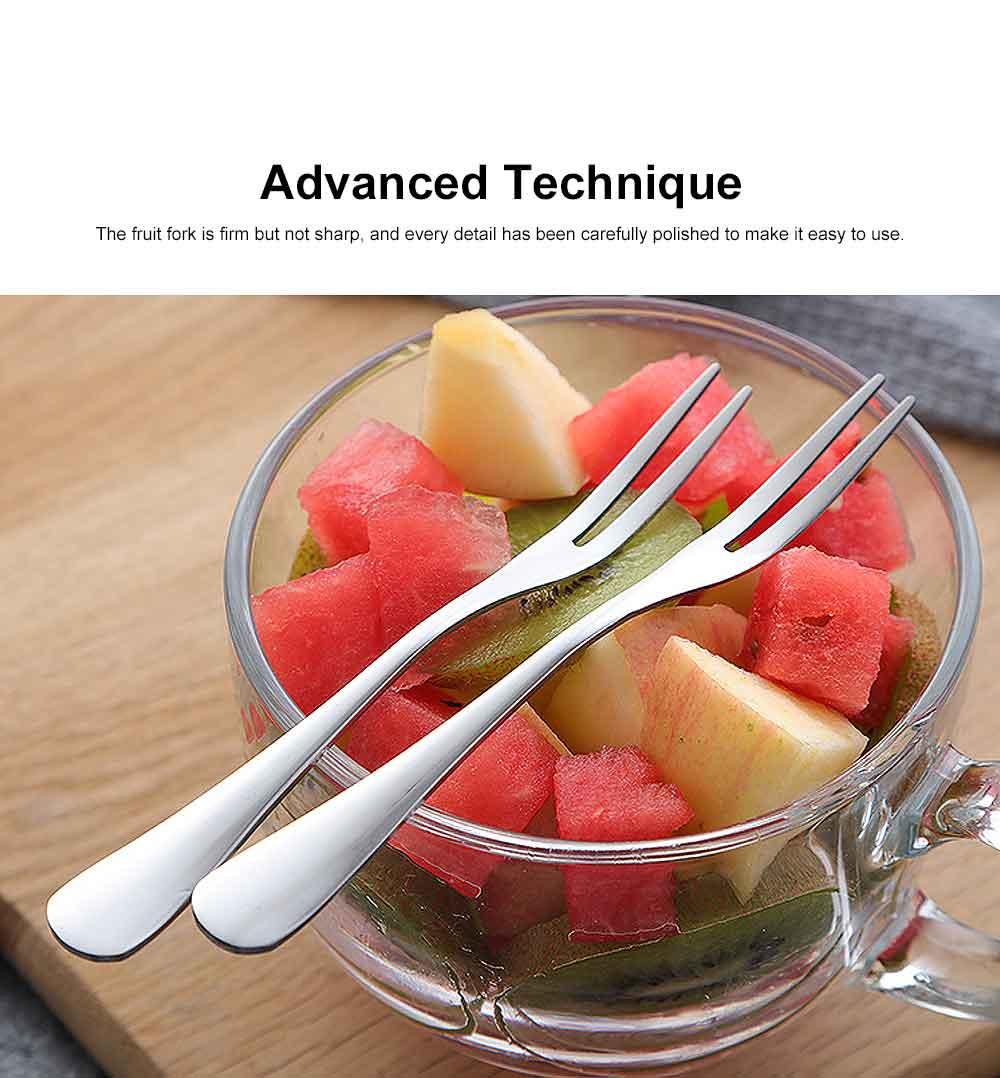 Durable 304 Stainless Steel Fruit Fork, Mirror Polishing Dessert Cake Fork, 5 Forks 2 Tooth Fork 5