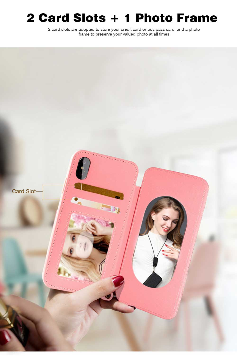 Matte Texture Phone Case with Inside Mirror for iPhone 6,6S,6P,6SP,7,8,7P,8P,X,XS,XS Max,XR Samsung Note 8,S8,S8 Plus, Built-in Mirror Folio Phone Cover 3