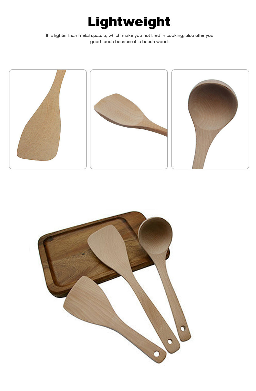 Creative Kitchen Utensils Sets - Beech Wood Shovel Lacquer Long Handle, Non-stick Spatula Inclined Cooking Shovel, 5 Pieces 5
