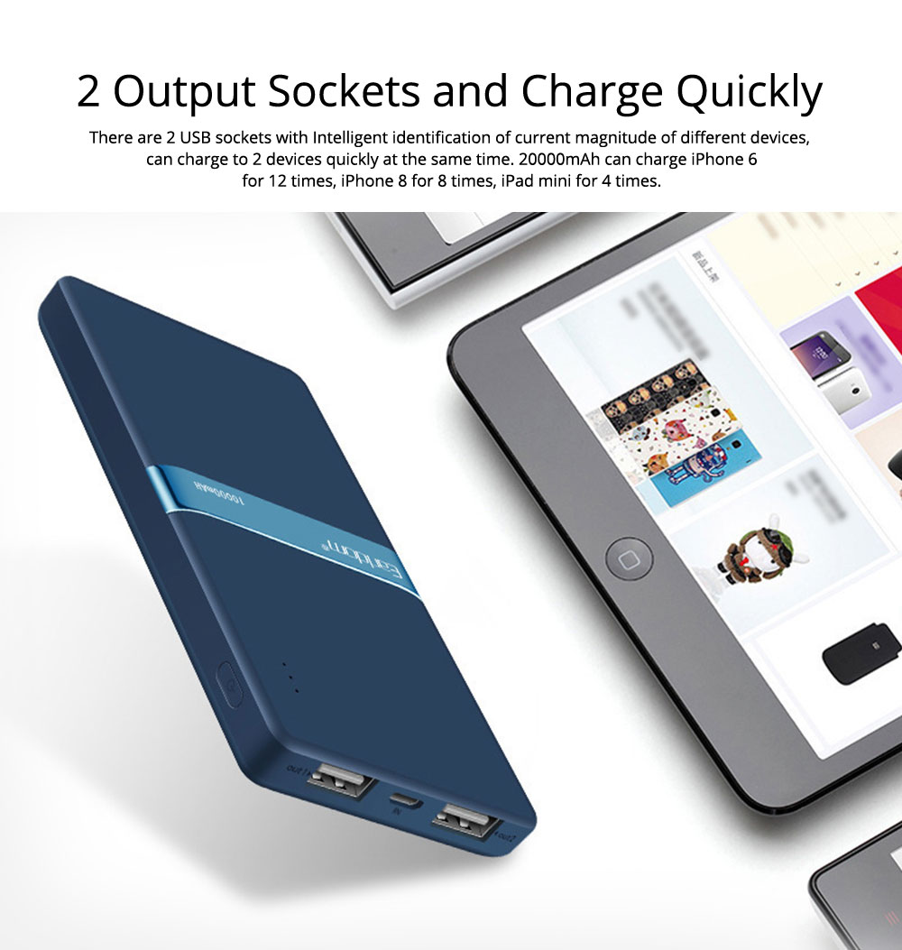 Stylish Business Power Bank 10000 5000mAh, Portable External Polymer Battery Charger USB Socket Power Bank for Cell Phone 3