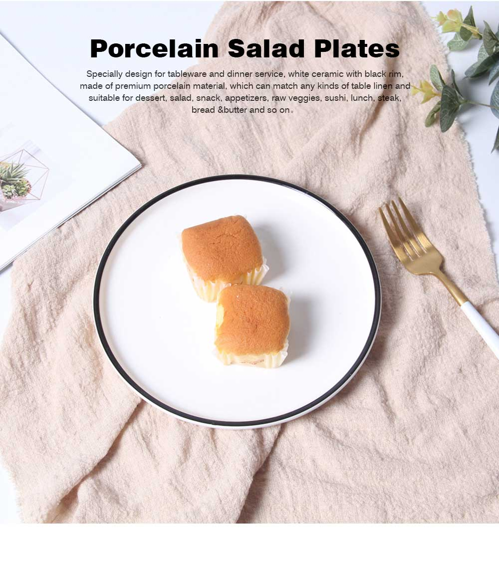 Premium Porcelain Salad Plates, 7.5 Inch, Classic Round and Black with Wide Rim, Dishwasher, Microwave, Freezer, Oven Safe, BPAFree for Everyday Use 0