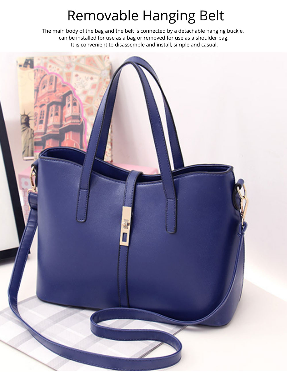 Simple Women Accessories Lady Tote Bag Sets - 3pcs Solid PU Leather Shoulder Bag & Cross Body Pouch & Strapped Clutch 5