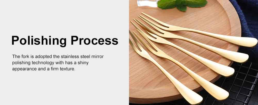 Durable 304 Stainless Steel Fruit Fork, Mirror Polishing Dessert Cake Fork, 5 Forks 2 Tooth Fork 4