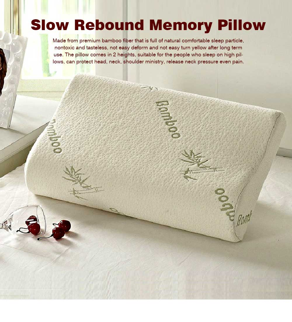 Slow Rebound Memory Pillow for Adults, Bamboo Fiber Universal Neck Pillow for Sleeping 0
