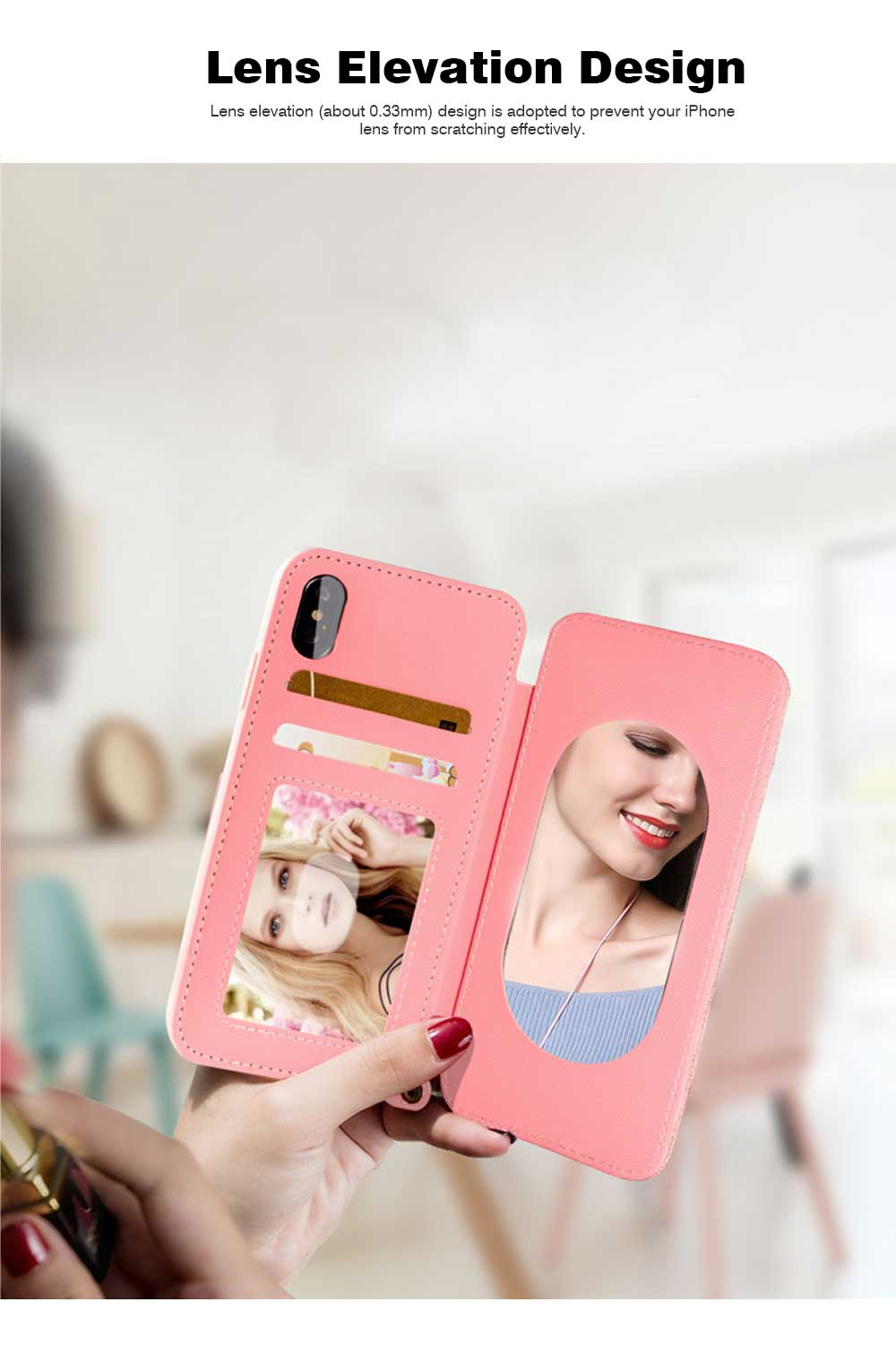 Matte Texture Phone Case with Inside Mirror for iPhone 6,6S,6P,6SP,7,8,7P,8P,X,XS,XS Max,XR Samsung Note 8,S8,S8 Plus, Built-in Mirror Folio Phone Cover 5