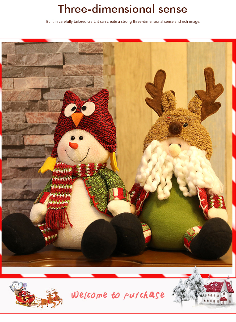 Christmas Decorations Plush Elk Sitting Posture Dolls for Children's Gifts and Mall Window Decoration Props 4