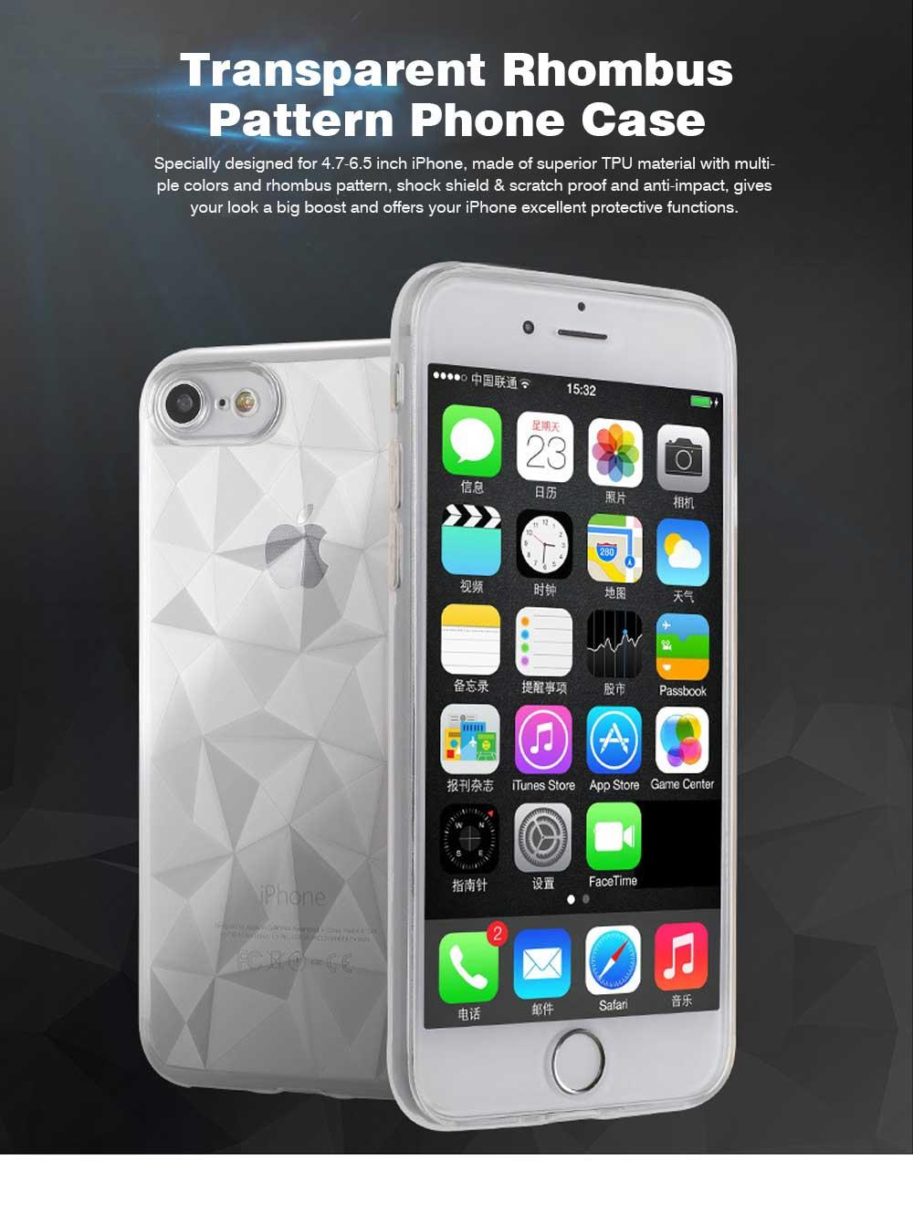 4.7-6.5 inch Soft Phone Case for iPhone Samsung Huawei, Rhombus TPU Phone Cover, Transparent Rhombus Pattern Phone Case 0