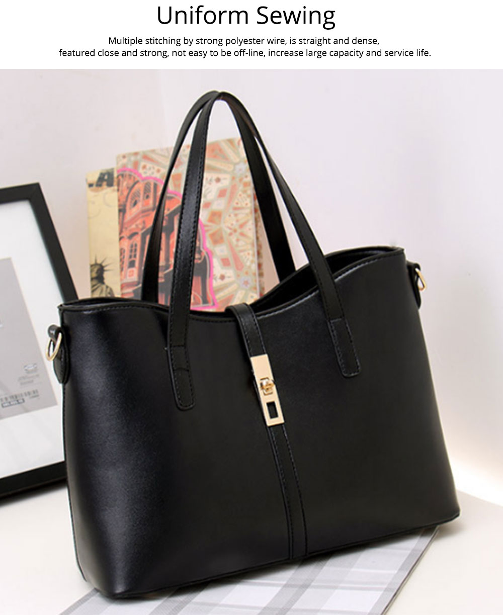 Simple Women Accessories Lady Tote Bag Sets - 3pcs Solid PU Leather Shoulder Bag & Cross Body Pouch & Strapped Clutch 4