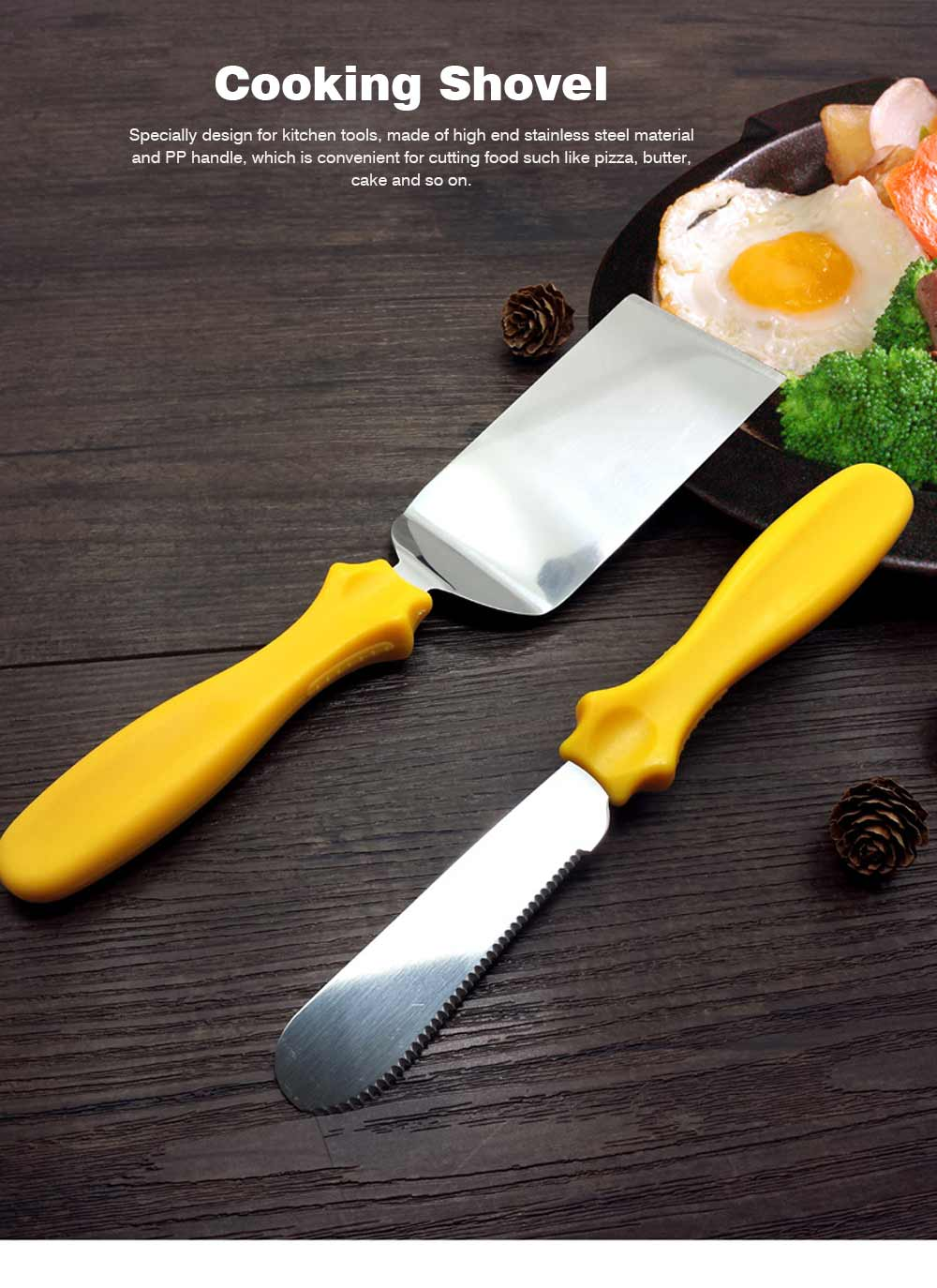 Stainless Steel Shovel Knife, Butter Cheese Cutter Knife, Cook Accessories Cooking Pizza Food Shovel, PP Handle, Set Of 3 0