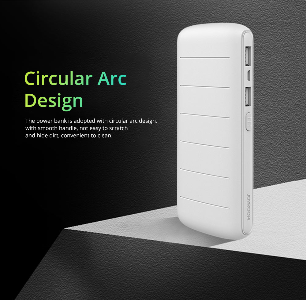 Dual USB Power Bank for Cell Phone 10000mAh, Contracted Circular Arc Portable External Battery Fireproof ABS Charger 4