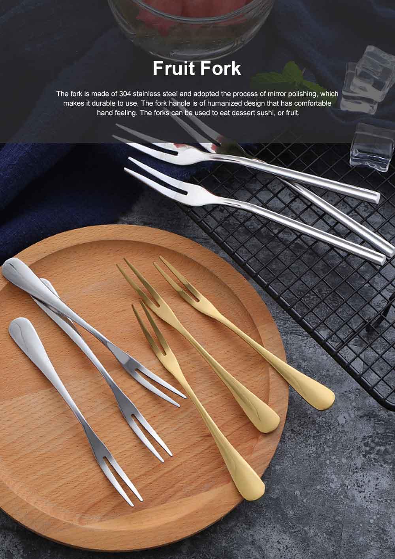 Durable 304 Stainless Steel Fruit Fork, Mirror Polishing Dessert Cake Fork, 5 Forks 2 Tooth Fork 0