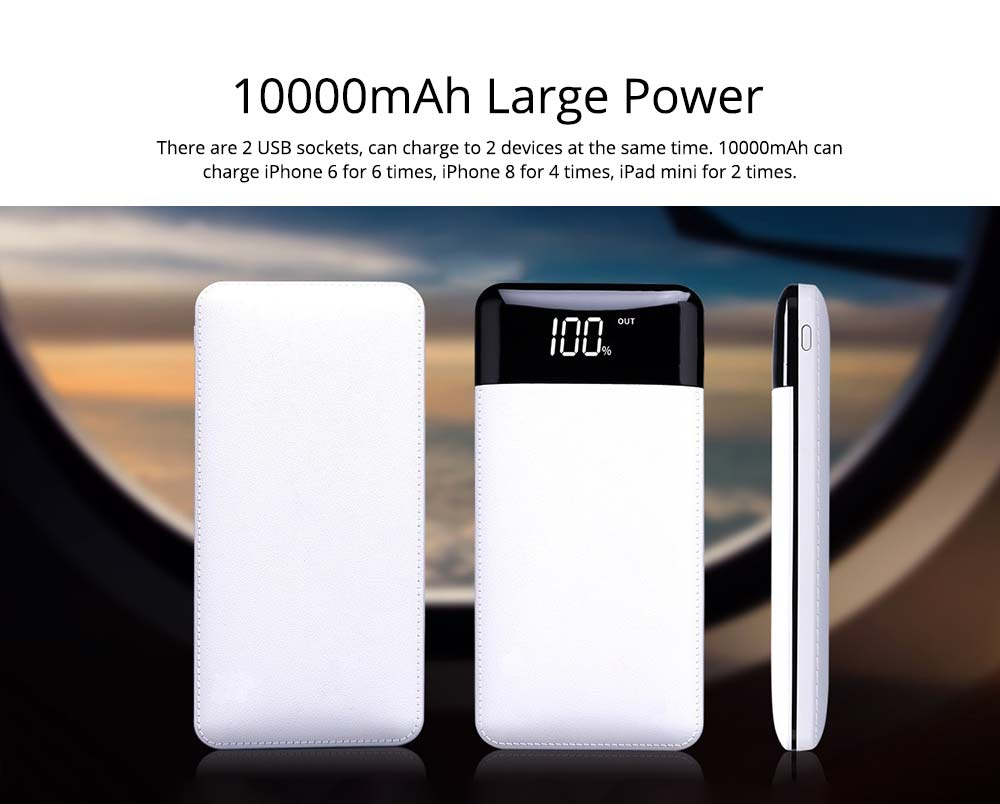 10000mAh Power Bank with 2 Outputs & Dual Inputs, Intelligent LCD, Simulation Leather, Compatible Smartphone, Tablet and More 13
