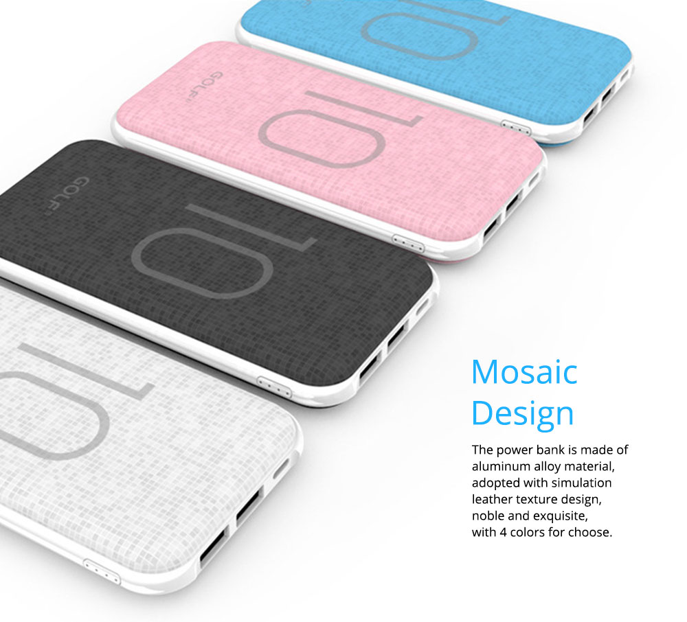 Chic Mosaic Power Bank 10000mAh, Portable External Battery Charger 2 USB Socket, for iPhone 8/7,iPhone X,iPad Pro, Galaxy S8 Note8 and More 4