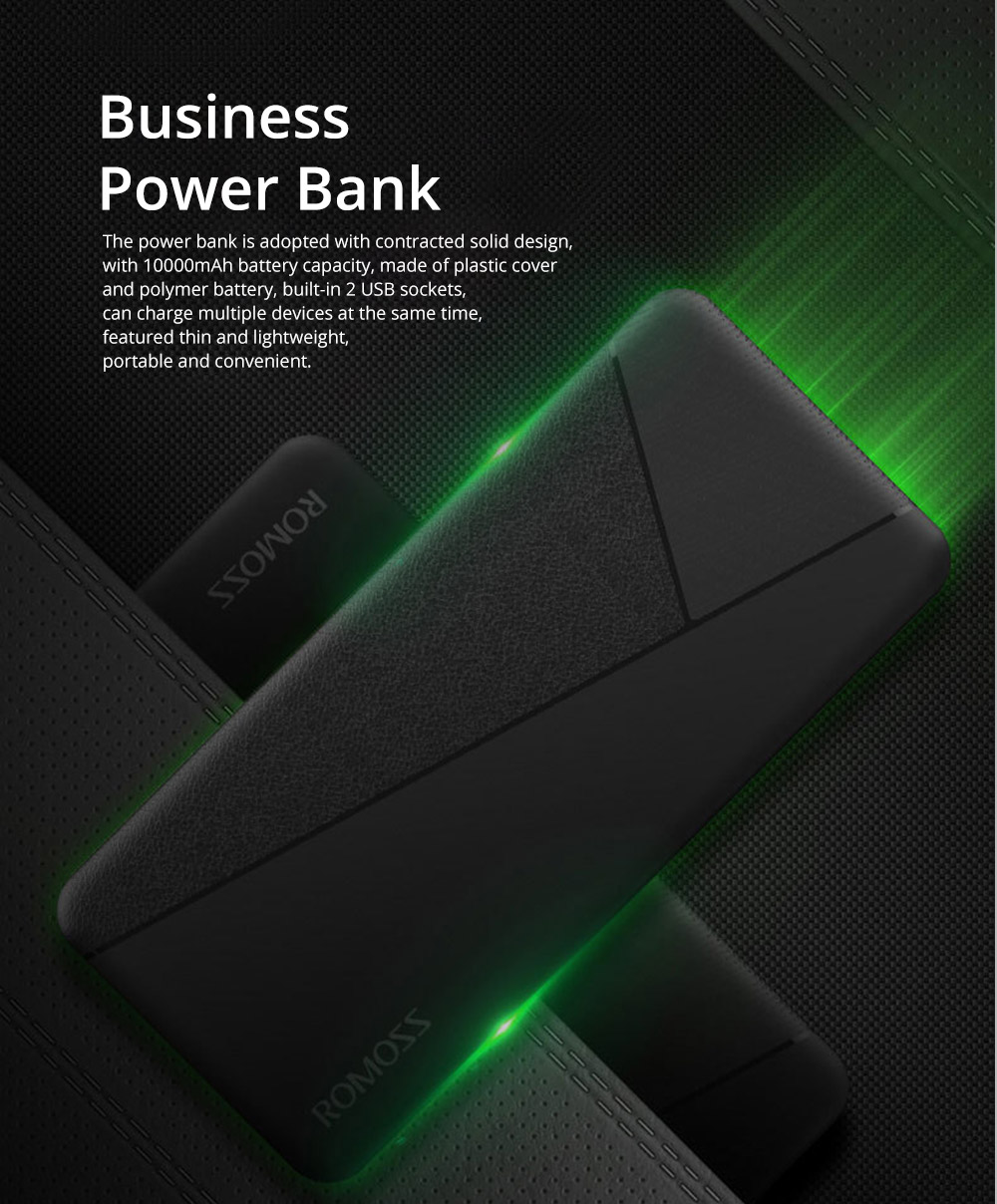 Contracted Business Power Bank 10000mAh, Geometric Black White Portable External Battery Charger Power Bank with 2 USB Socket 0