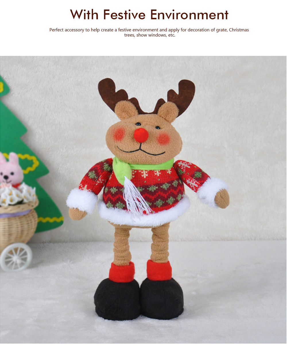 Standing Telescopic Santa Snowman, Figurine Santa Claus Posing Christmas Doll for Gifts 3