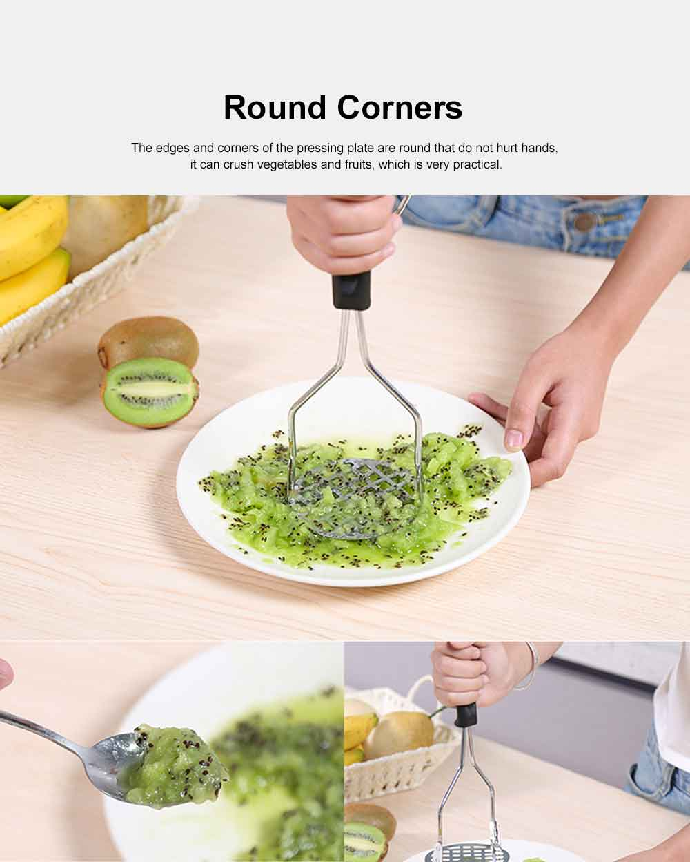 Stainless Steel Garlic Press, Manual Garlic Potatoes Crusher for Household Kitchen Supplies Tool Squeezer Mincer Chopper 5