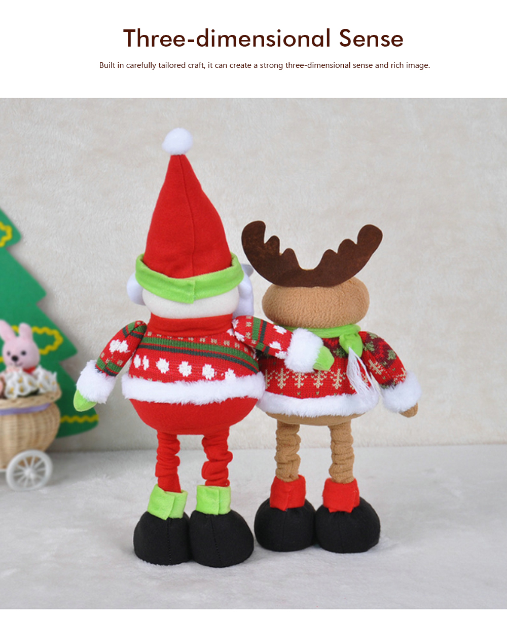 Standing Telescopic Santa Snowman, Figurine Santa Claus Posing Christmas Doll for Gifts 5