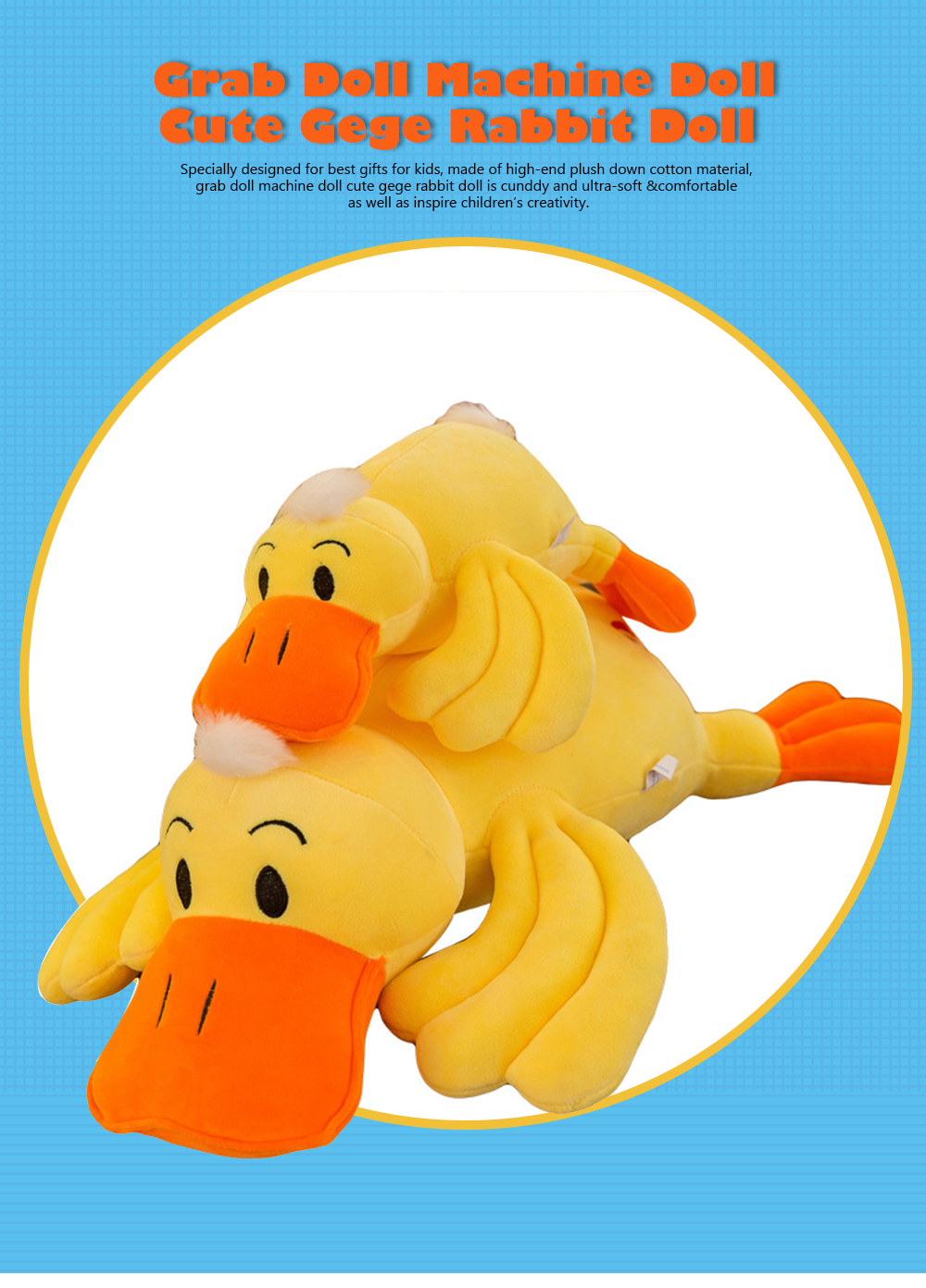 Yellow Duck Plush Toy, Grab Doll Claw Toy, Cute Duck Doll Festival Activities Gift 0