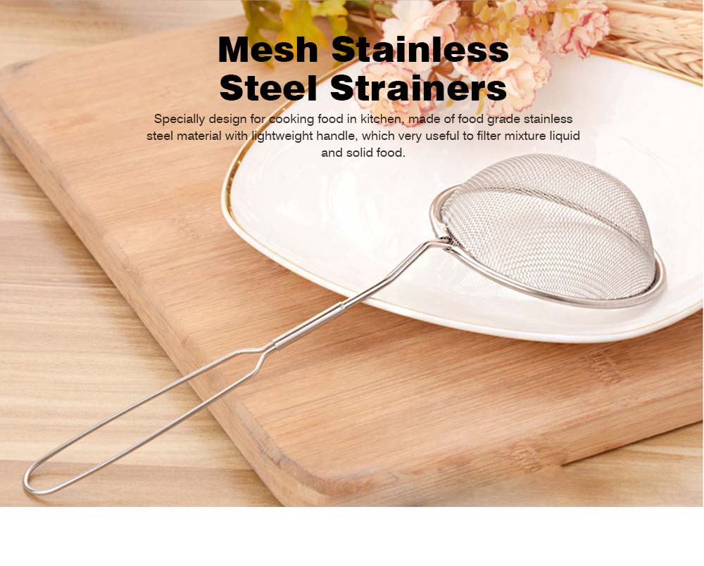 High Quality Mesh Stainless Steel Strainers, All Purpose Food Strainer and Colander Sieve for Superior Baking and Cooking Preparation, Set of 3 0