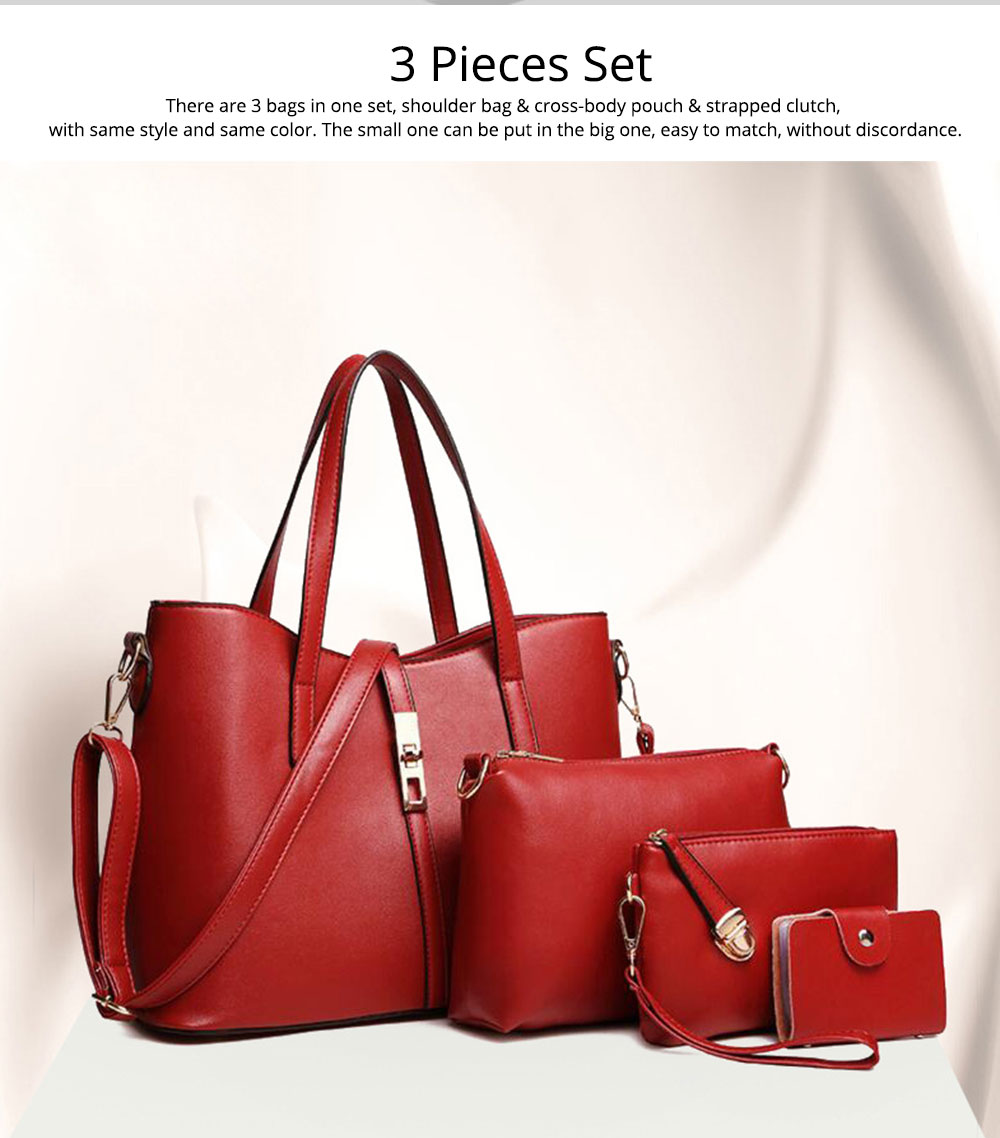 Simple Women Accessories Lady Tote Bag Sets - 3pcs Solid PU Leather Shoulder Bag & Cross Body Pouch & Strapped Clutch 1