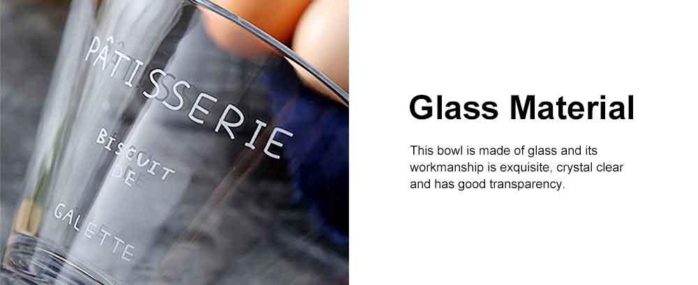 Glass Fruit Salad Bowl, Transparent Bowl Dessert Vegetable Ice Cream Noodle Bowl for Household With Forks 1
