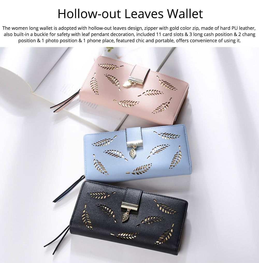 Women Long Wallet, PU Leather Zipper Change Purse, Hollow-out Leaves Card Bag Casual Handbag 0