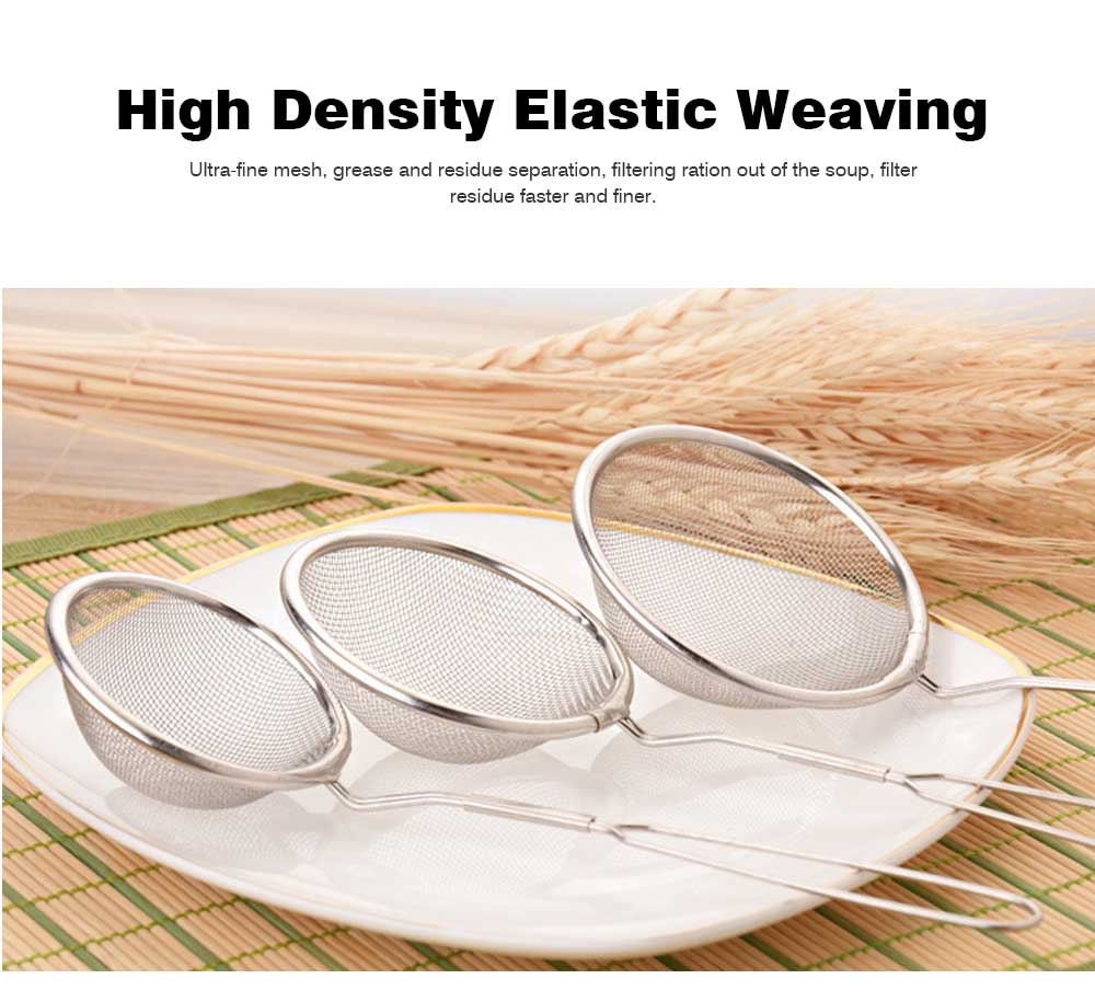 High Quality Mesh Stainless Steel Strainers, All Purpose Food Strainer and Colander Sieve for Superior Baking and Cooking Preparation, Set of 3 3