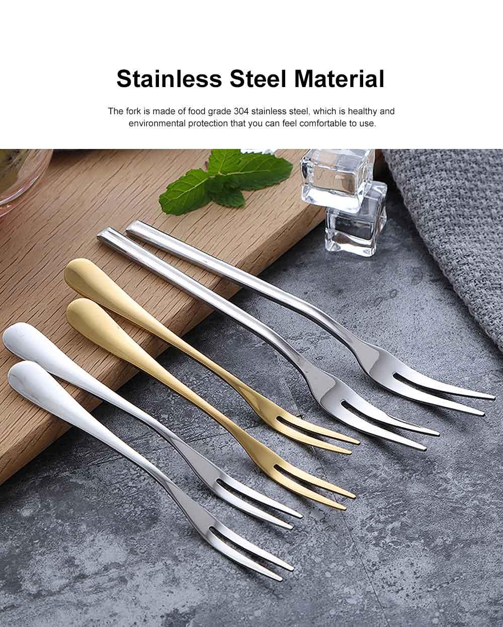 Durable 304 Stainless Steel Fruit Fork, Mirror Polishing Dessert Cake Fork, 5 Forks 2 Tooth Fork 1