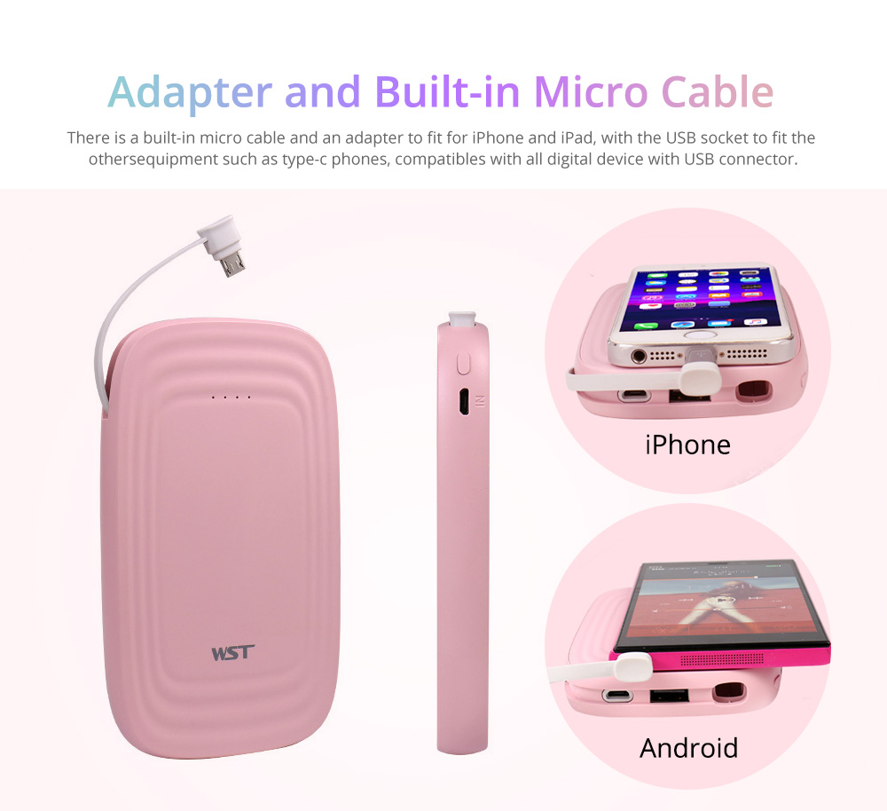 Portable Power Bank, Slim Circular Arc Built-in Cable 10000mAh External Battery Charger USB Socket Power Bank for Cell Phone 8