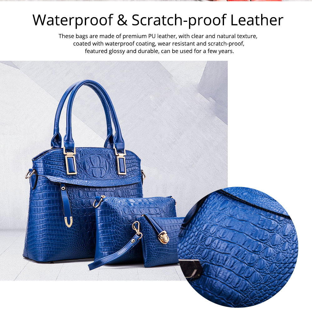 Elegant Lady Accessories Sets 3pcs Crocodile Stria Embossed PU Leather Shoulder Bag & Cross Body Pouch & Strapped Clutch 3