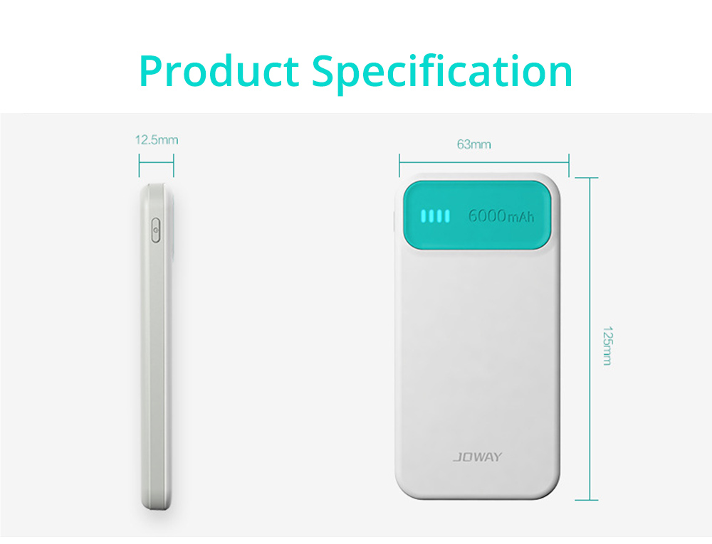 Candy Color Fast Charging Power Bank for Cell Phone, Fresh Style Polymer Battery 6000mAh Portable External Battery Charger 16