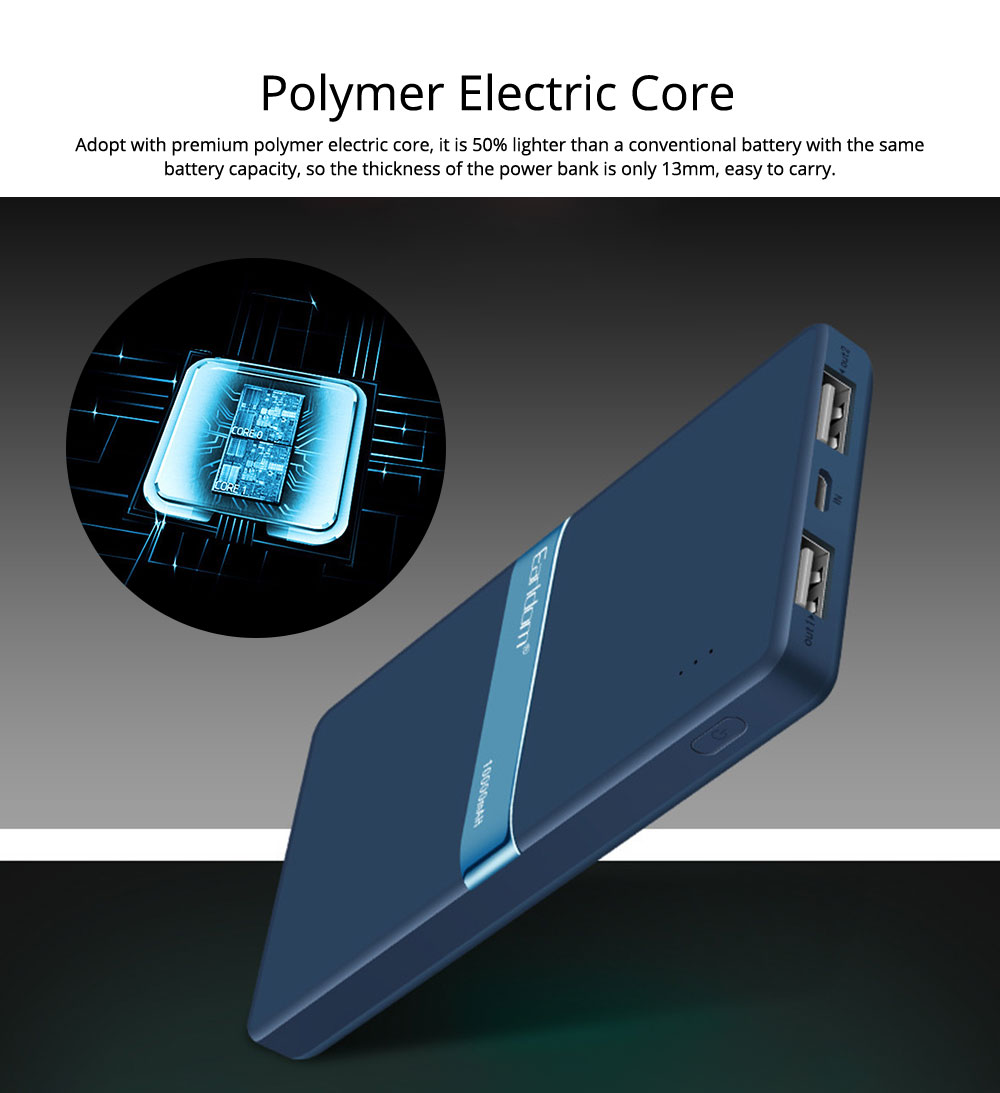 Stylish Business Power Bank 10000 5000mAh, Portable External Polymer Battery Charger USB Socket Power Bank for Cell Phone 4