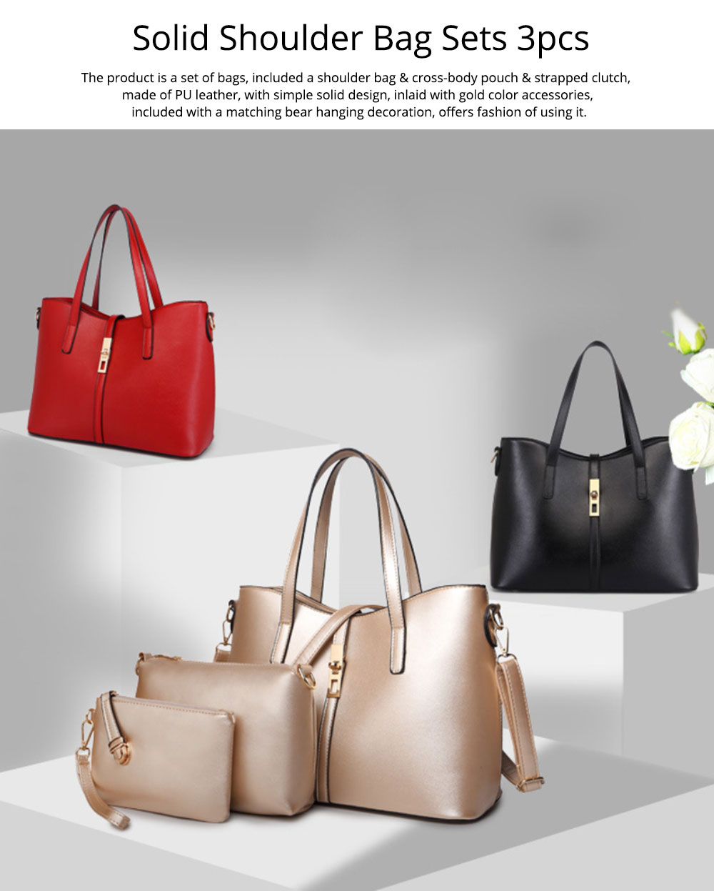 Simple Women Accessories Lady Tote Bag Sets - 3pcs Solid PU Leather Shoulder Bag & Cross Body Pouch & Strapped Clutch 0