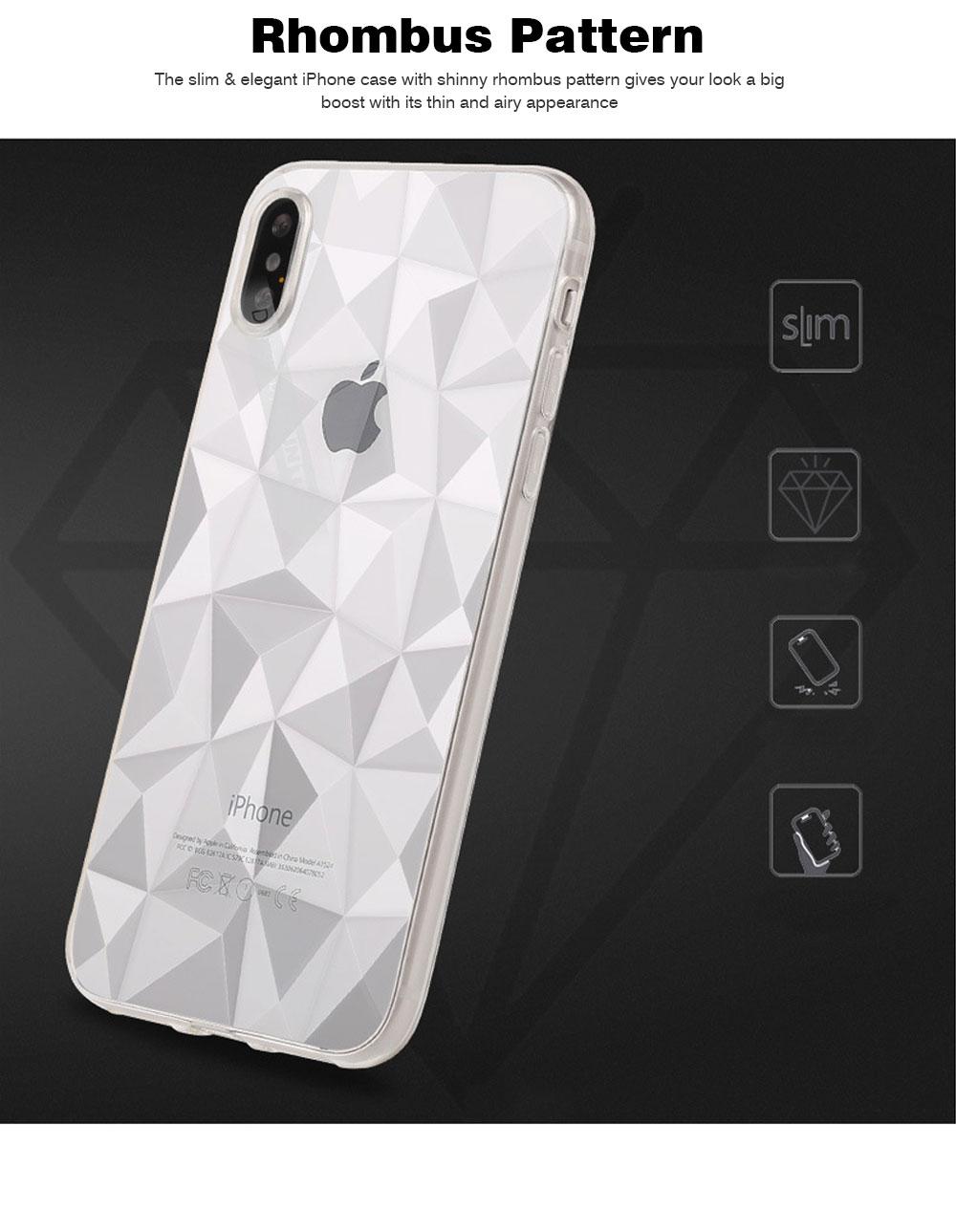 4.7-6.5 inch Soft Phone Case for iPhone Samsung Huawei, Rhombus TPU Phone Cover, Transparent Rhombus Pattern Phone Case 1