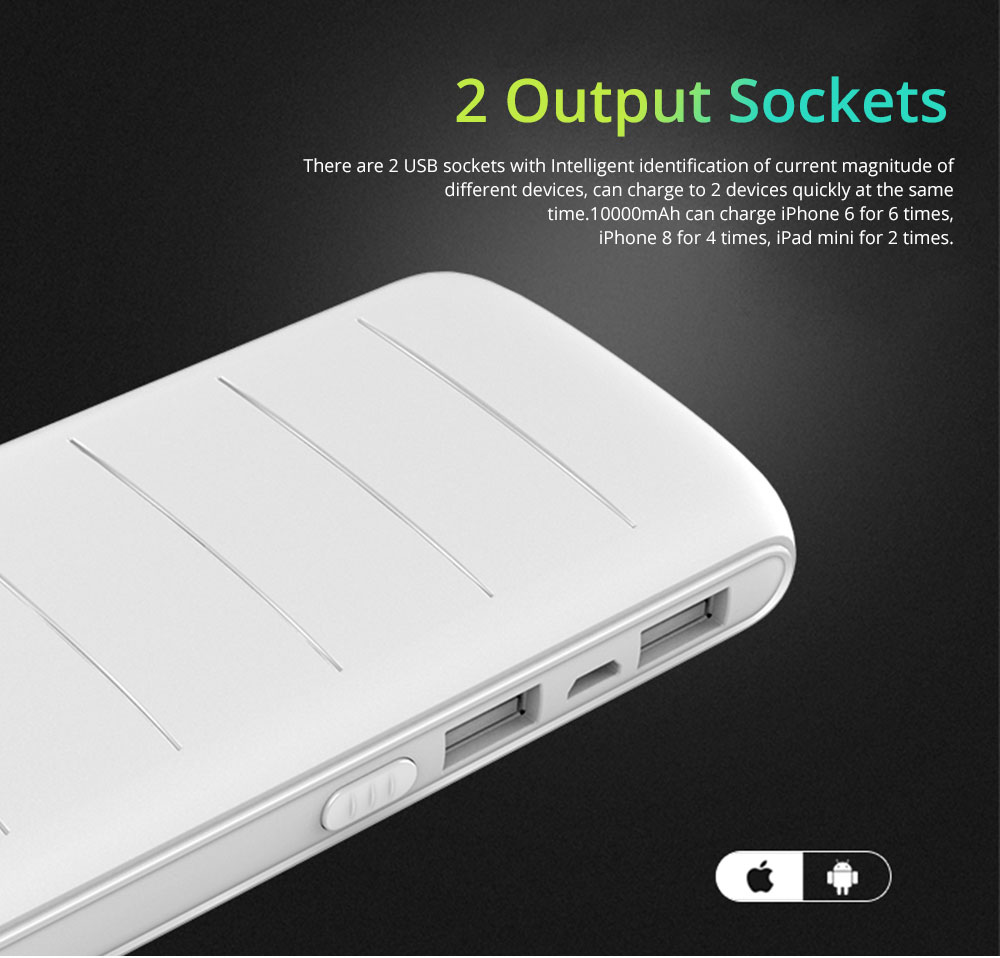 Dual USB Power Bank for Cell Phone 10000mAh, Contracted Circular Arc Portable External Battery Fireproof ABS Charger 2