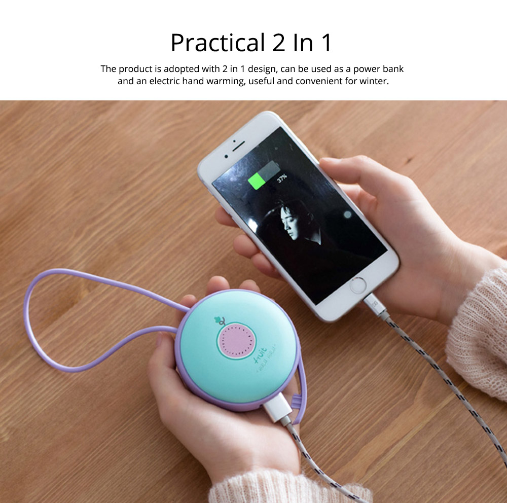 4500mAh Power Bank Hand Warmer, Creative Fruit Macaroon Rounded 2 In 1 Pocket Silicone Electric Heater USB Charger 9