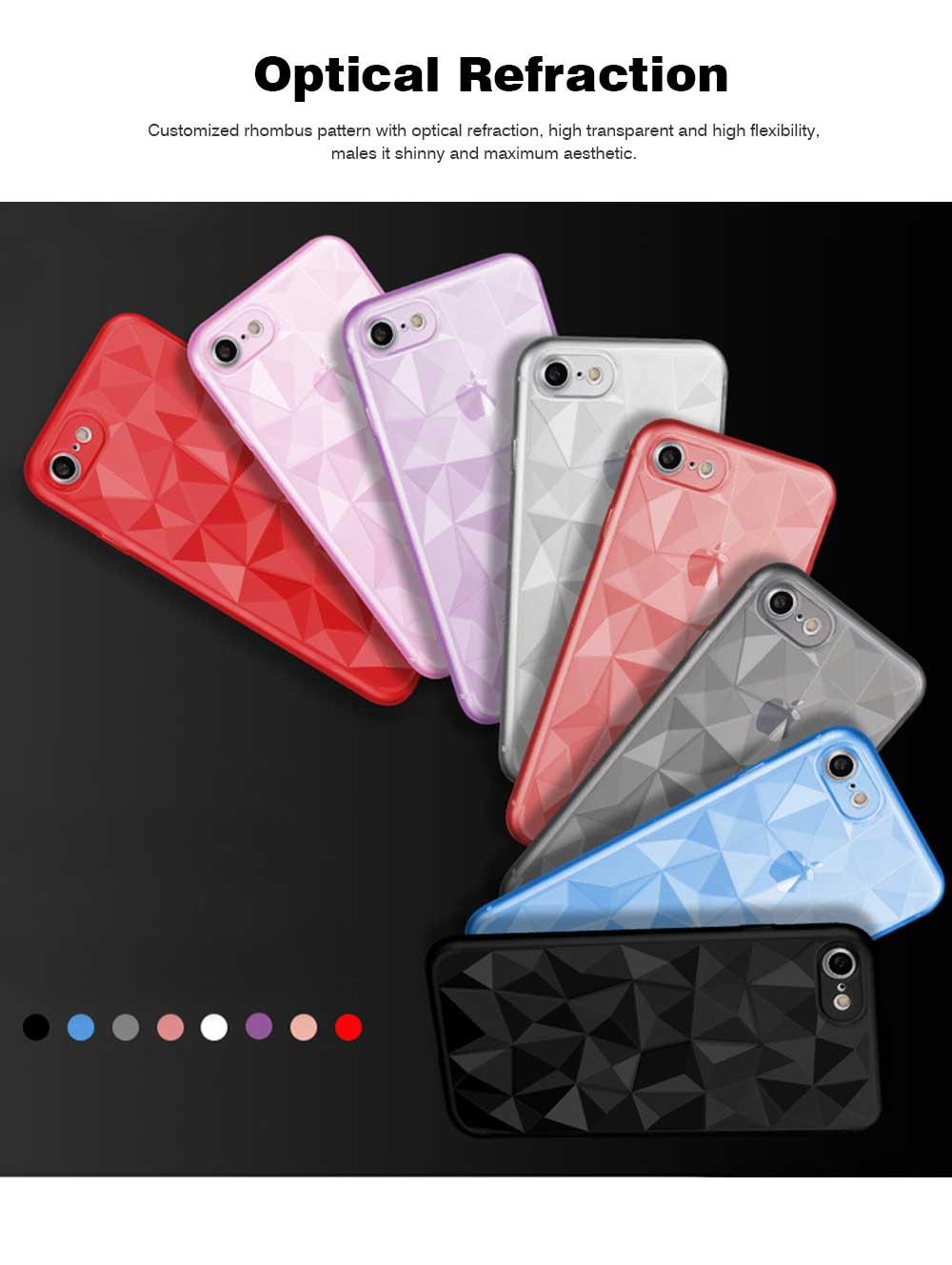 4.7-6.5 inch Soft Phone Case for iPhone Samsung Huawei, Rhombus TPU Phone Cover, Transparent Rhombus Pattern Phone Case 8