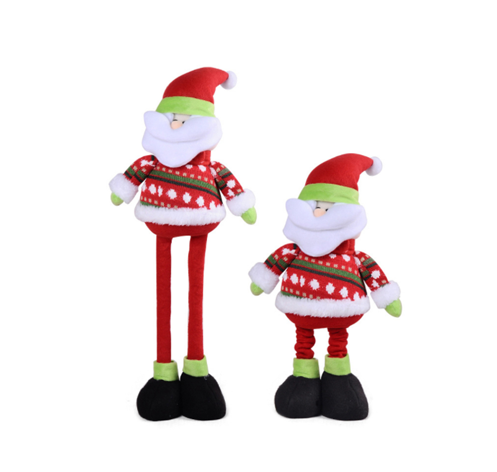 Standing Telescopic Santa Snowman, Figurine Santa Claus Posing Christmas Doll for Gifts 8