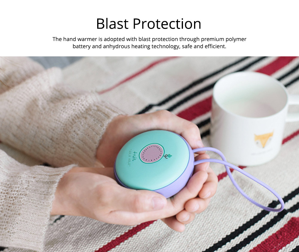 4500mAh Power Bank Hand Warmer, Creative Fruit Macaroon Rounded 2 In 1 Pocket Silicone Electric Heater USB Charger 12