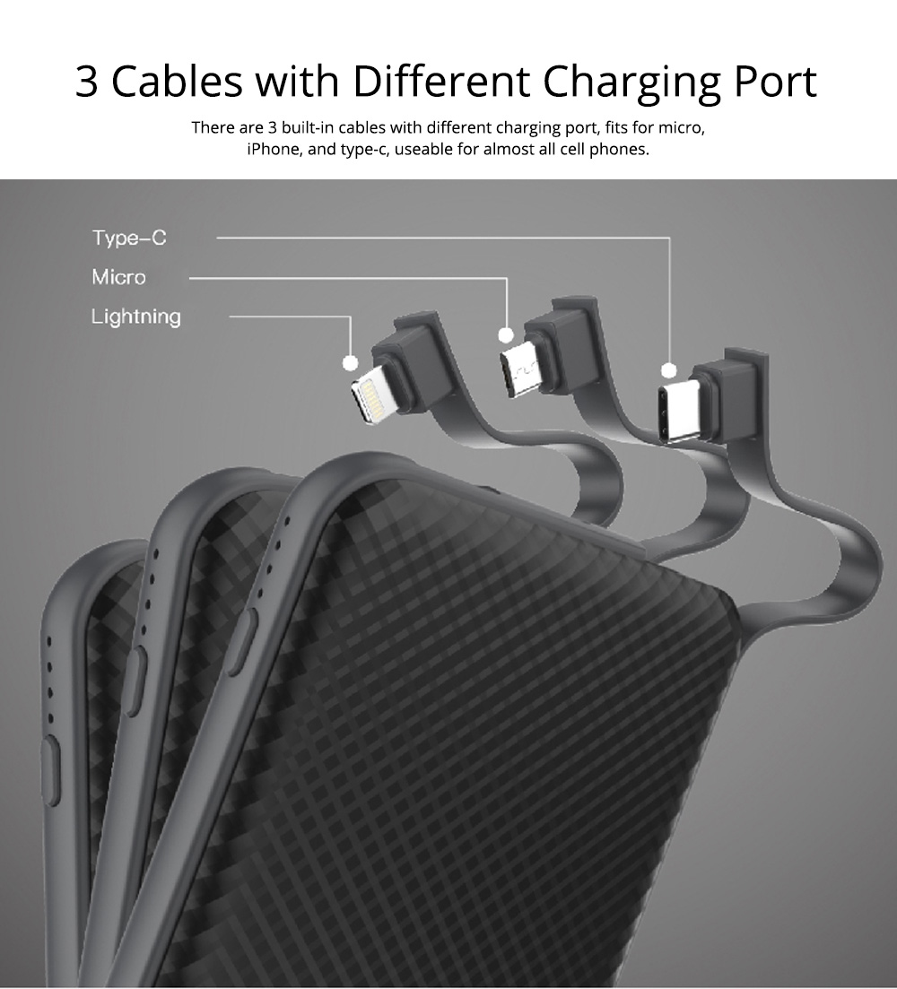 Fast Charging 10000mAh Power Bank for Cell Phone, Best Power Bank Portable Charger, 3 Built-In Cables With Micro, IPhone, Type-C Port 2